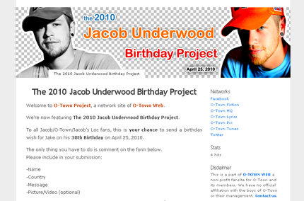 ENTER THE 2010 JACOB UNDERWOOD BIRTHDAY PROJECT