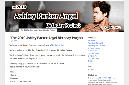 ENTER THE 2010 ASHLEY PARKER ANGEL BIRTHDAY PROJECT