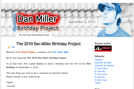 ENTER THE 2010 DAN MILLER BIRTHDAY PROJECT