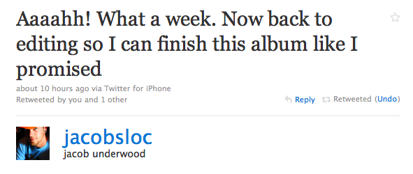 "Jacob's Twitter Update: ""Aaaahh! What a week..."""