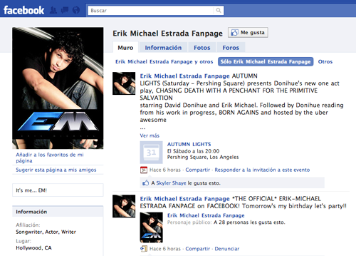Enter Erik-Michael Estrada's Official Facebook Page