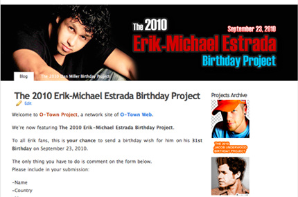 ENTER THE 2010 ERIK-MICHAEL ESTRADA BIRTHDAY PROJECT