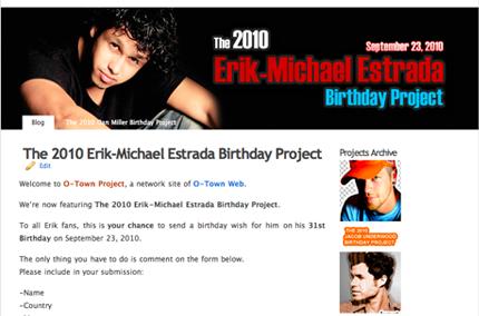 ENTER THE 2010 ERIK-MICHAEL ESTRADA BIRTHDAY PROJECT
