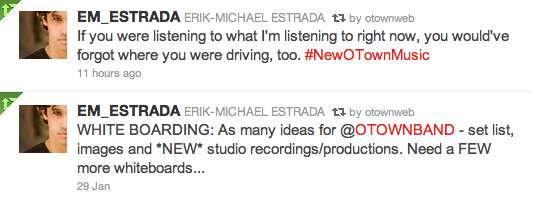 Erik's Twitter Update about new O-Town music in 2011
