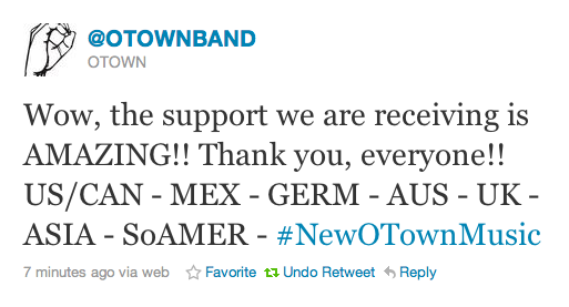 """Wow, the support we are receiving is AMAZING!! Thank you, everyone!! US/CAN - MEX - GERM - AUS - UK - ASIA - SoAMER - #NewOTownMusic"""